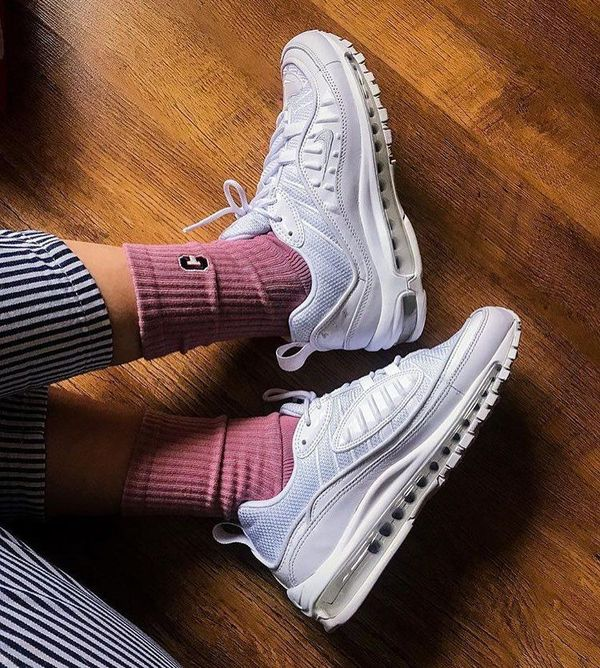 Nike Air Max 98 Triple White on foot