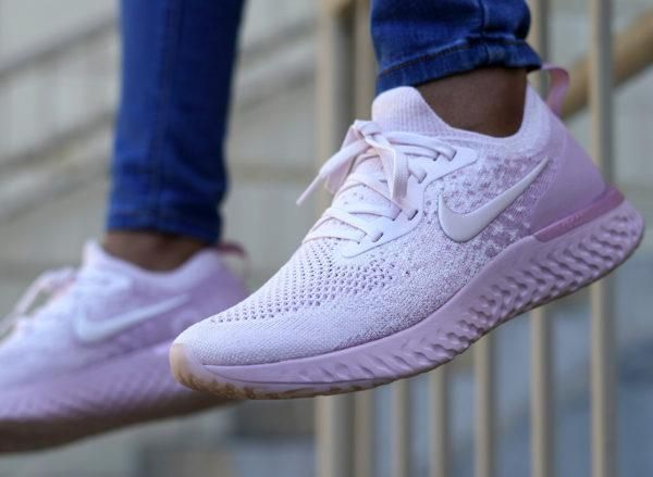 Nike Epic React Flyknit Pink on feet