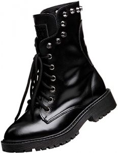 Shenn Women's Round Toe Mid Calf Punk Military Combat Boots