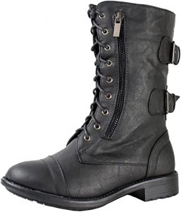TOP Moda Women's Pack-72 Tan Military Lace Up Combat Boot