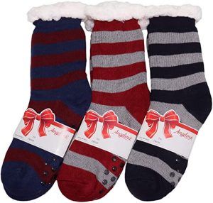Angelina Matching Family Mens Womens Kids Winter-Weight Sherpa-Lined Knitted Thermal Crew Socks (3-Pairs)